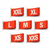 Clothing tags with sizes. Vector.