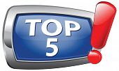 top 5 charts rank blue vector icon list pop poll button result and award winners chart ranking music