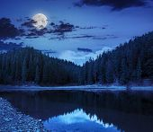 image of crystal clear  - view on crystal clear lake with rocky shore near the pine forest at the foot of the mountain at night in moon light - JPG