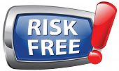 risk free vector icon blue label or sign 100% satisfaction high product quality guaranteed safe inve