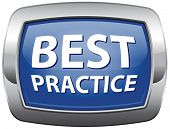 best practice good available technology used by strategic management blue vector icon