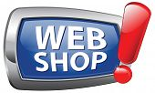webshop blue vector icon, web shop online internet shopping store