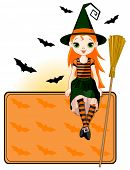 Cute witch is sitting on Halloween placard. All objects are separate groups