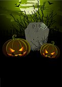 Halloween Illustration with Tombstone and Pumpkins for banners or invitation