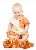 Joy baby with gift boxes
