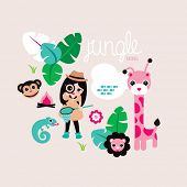 Cute jungle girls with giraffe lion and monkey wild life illustration cover design background in vec