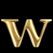Golden shining metallic 3D symbol letter w - lowercase isolated on black
