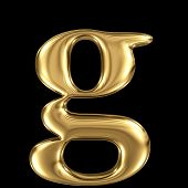 Golden shining metallic 3D symbol letter g - lowercase isolated on black