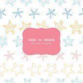 Starfish colorful line art frame seamless pattern background