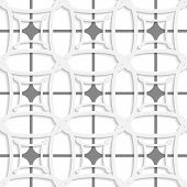 White Geometric Ornament With Gray Net Seamless