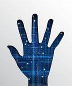 Hand with abstract circuit board