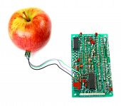 Red Apple Connected To The Electric Board