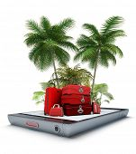 Luggage and tropical landscape, coming out of a smart phone screen