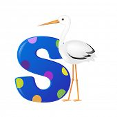 Alphabet With Stork With Gradient Mesh, Vector Illustration
