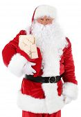 stock photo of letters to santa claus  - Santa Claus holding bag with letters isolated on white background - JPG