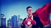 Stop Warning Strong Superhero Success Professional Empowerment Stock Concept