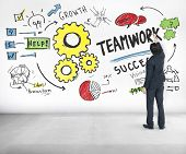 Teamwork Team Together Collaboration Businessman Writing Ideas Concept