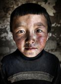 foto of mongolian  - Portrait of a Mongolian Boy - JPG