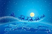 Illustration of Santa Claus and reindeer flying through starry blue sky over planet earth; Christmas scene.
