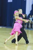 Minsk-belarus, October 5,2014: Unidentified Professional Dance Couple Performing Youth-2 Latin-ameri