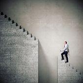 senior businessman and broken stair 3d