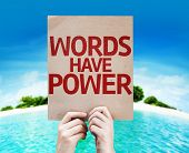Words Have Power card with a beach on background