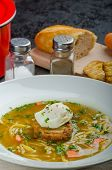 picture of benediction  - Homemade beef broth homemade noodles and garlic toast with eggs benedict - JPG