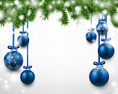 Winter background with spruce twigs and blue baubles. Christmas vector frame. Eps10.