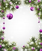 Winter background with spruce twigs and purple baubles. Christmas vector frame. Eps10.
