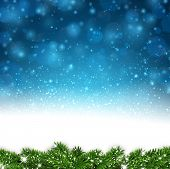 Blue winter abstract background. Christmas illustration with snowflakes and sparkles. Vector.