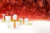 Winter background with snow. Gift boxes. Christmas red defocused illustration. Eps10 vector.