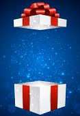 Opened 3d realistic gift box with red bow. Vector blue background.