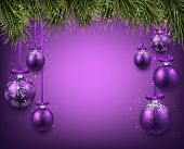 Abstract background with purple christmas balls. Vector illustration.