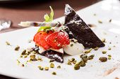dessert with strawberry and chocolate