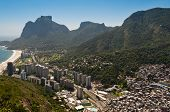 pic of olympic mountains  - Sao Conrado Beach and District with Mountains Around and Pedra da Gavea Rock - JPG