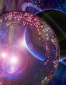 Huge City Multi-Generational City Ship Encounters New Planet Elements of this image furnished by NASA