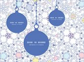 Vector ornamental abstract swirls Christmas ornaments silhouettes pattern frame card template