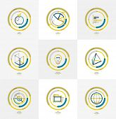 Minimal thin line design web icon set, universal logotypes