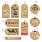 image of christmas wreath  - collection of 10 kraft paper christmas gift tags - JPG