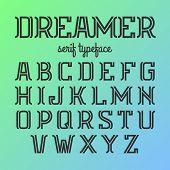 Modern serif typeface. Vector.