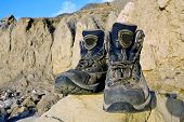 picture of welts  - Tourists boots on stone in mountains  - JPG