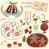 Christmas Sweet Vector Set- Christmas Cake, Macarons, Sugar Cookies, Tarts, Cupcakes And Other.chris