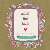 Stylish Save The Date Card. Cute Wedding Invitation In Vector With Romantic Elements And  Place For