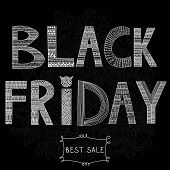 Concept Poster Sale- Black Friday Ornamental Design With Hand Lettering.chalk Qoute On Chalkboard Bl