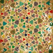 Seamless Pattern Of Colorful Hearts On Old Shabby Paper