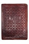 pic of passport cover  - leather vintage passport cover on white background - JPG