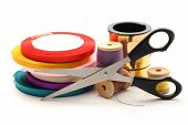 Thread Bobbins, Scissors And Reels Of Ribbon