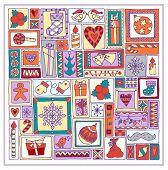 Geometric christmas doodle hand drawn pattern.