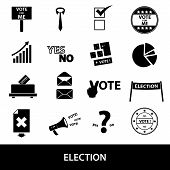 Election Black Simple Icons Set Eps10