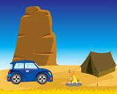 Tent with car in desert